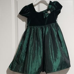 3T green holiday Christmas dress